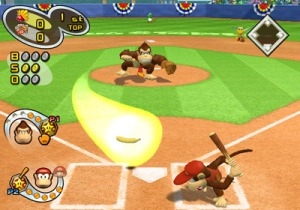 "Donkey Kong unleashes his ""Banana Ball"" pitch in Mario Superstar Baseball"