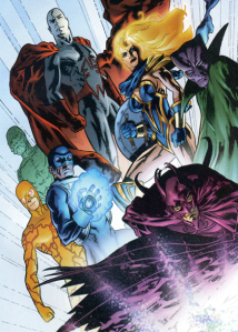 Unnamed Justice League doubles, from Planetary No. 1; art by John Cassaday
