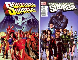 The two incarnations of the Squadron Supreme by Alex Ross (l) and Gary Frank (r). Source: I love comic covers