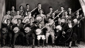 Karl Alex Smyser Banjo Band ca. 1931, from Bluegrass Today.  (Follow the link for audio recordings!) Note the mando-bass on the right.