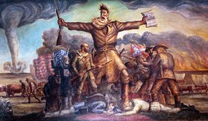 "Tragic Prelude by John Steuart Curry, a painting representing ""Bleeding Kansas"" hanging in the Kansas State Capitol"
