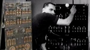Kenneth Strickfaden shown adjusting one of his electrical props